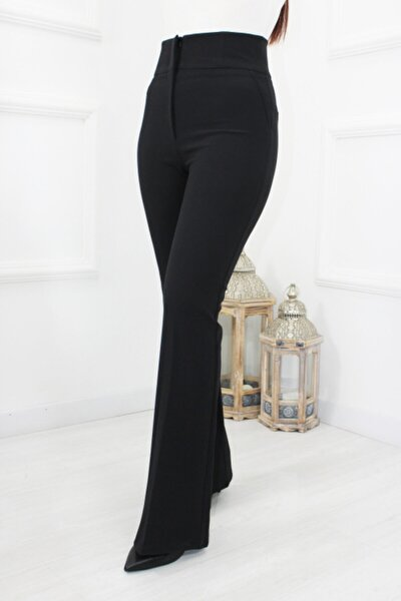 Yüksek Bel Ispanyol Kumaş Pantolon
