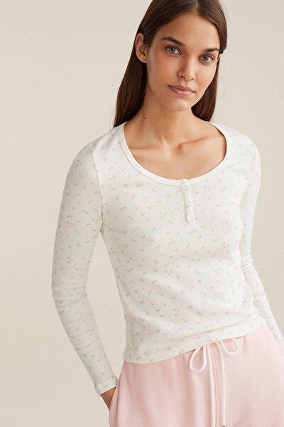 Kadın Ekru Düz %100 Pamuklu Tişört