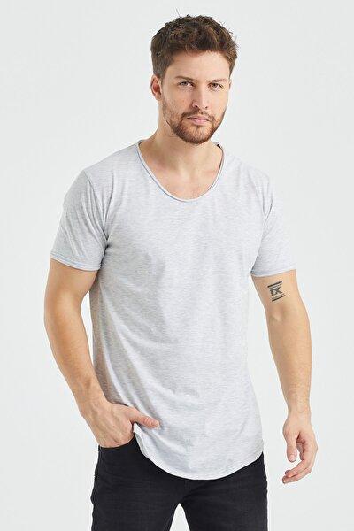 Erkek Gri  Salaş T-shirt