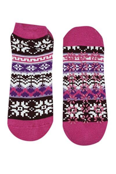 Kadın Pembe Termal Çorap Poffy Kaydırmaz Tabanlı
