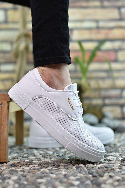 Erkek Beyaz Baskılı Sneaker 0012365