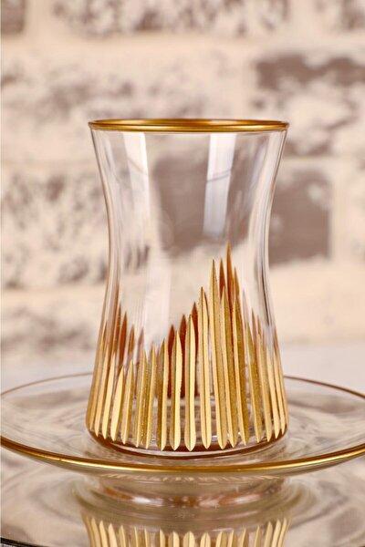 12 Parça Altınlı Kristalize Kesme Sanatı Çay Bardağı Seti (şk)