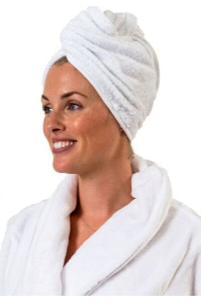 %100 Pamuk Beyaz Düz Eponj Düğmeli Havlu Saç Kurulama Bonesi