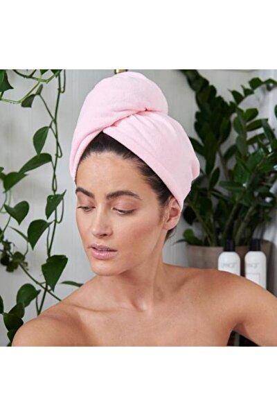 %100 Pamuk Toz Pembe Düz Eponj Düğmeli Havlu Saç Kurulama Bonesi