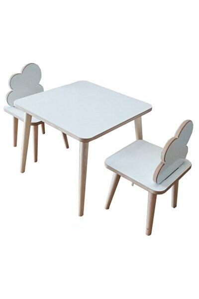 Yaz-sil Yüzey Bulut Figürlü Ahşap Çocuk Aktivite Oyun Masa Sandalye Takımı - 1 Masa 2 Sandalye