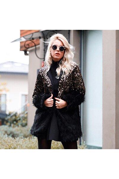 Kadın Siyah Pul Payet İşlemeli Peluş Ceket Hırka