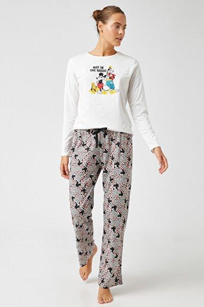 Kadın Grı Melange Desenli Pijama Takımı 1KLK79321MK