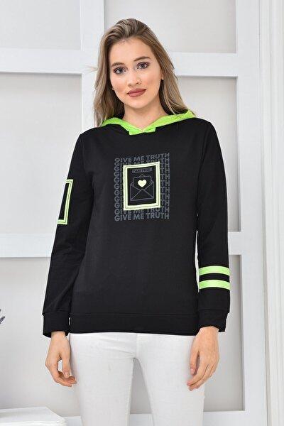 Kadın Siyah Neon Baskılı Kapüşonlu Sweatshirt