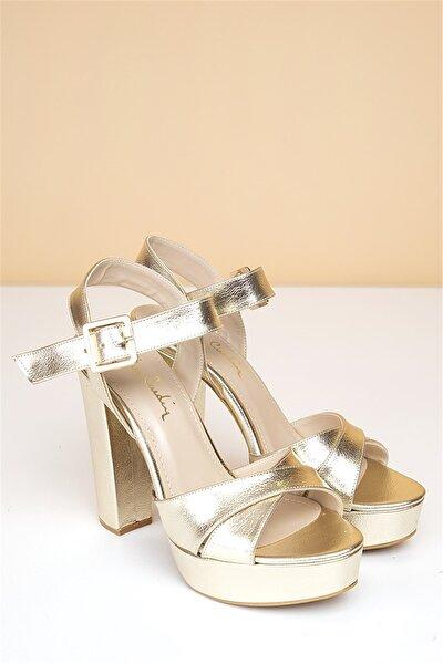 Pc-50165 Parlak Altın Kadın Ayakkabı