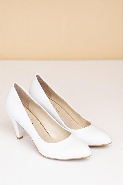 Kadın Beyaz Topuklu Ayakkabı  Pc-50178