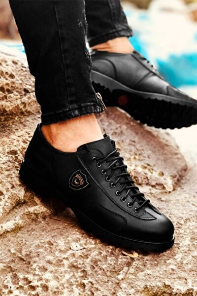 Erkek Siyah Dört Mevsim Rahat Tam Ortopedik Ayakkabı