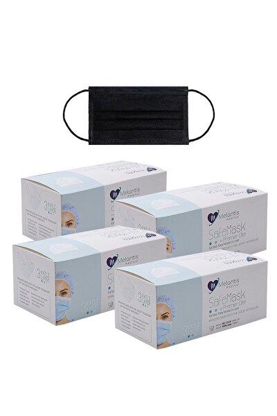 Melantis Medikal Tek Kullanımlık 3 Katlı Telli Cerrahi Maske 50 Adet X 4 Kutu Siyah Siyah