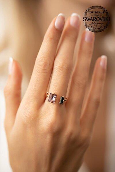 Kadın Swarovski Taşlı Baget Model Rose Kaplama Gümüş Yüzük PKT-SBS0480