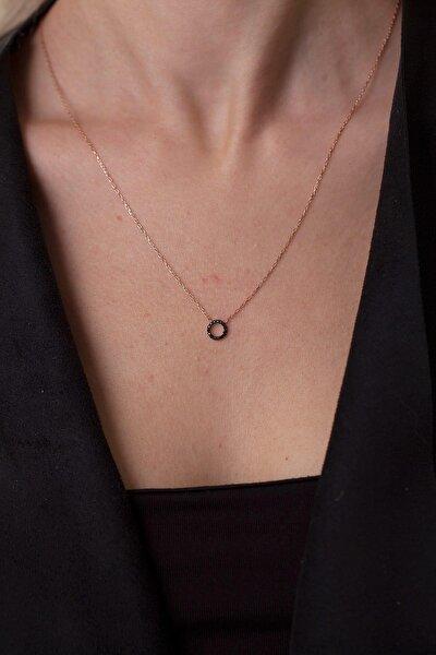 Kadın Siyah Zirkon Taşlı Halka Model Gümüş Kolye