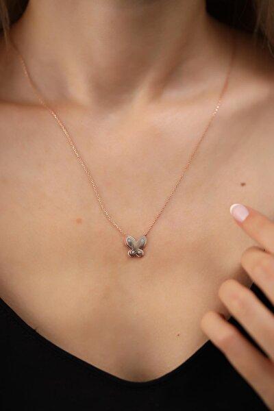 Kadın Kelebek Model Rose Kaplama Gümüş Kolye