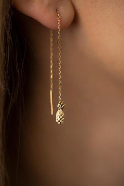 Kadın Ananas Model Sallantılı Altın Kaplama Gümüş İtalyan Küpe