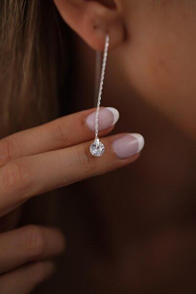 Kadın Makara Model Sallantılı Zirkon Taşlı Gümüş Küpe