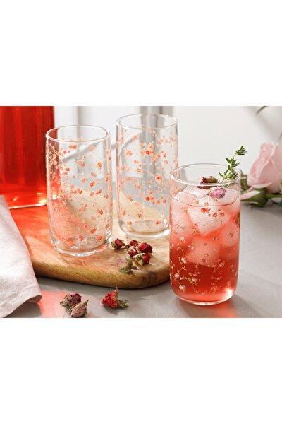 Pinky Rose Cam 3'lü Meşrubat Bardağı 365 ml Şeffaf