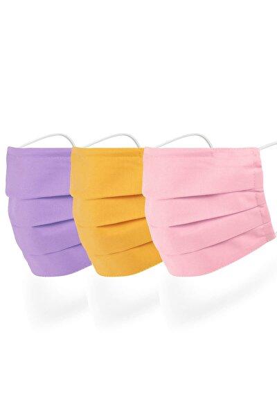 3-14 Yaş Burun Telli 3 Katlı Mor Sarı Pembe Renkli Pamuklu Yıkanabilir Çocuk Maskesi 3'lü Set