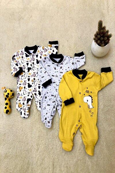 Erkek Bebek Yeni Doğan Zürafa Desenli Üç Adet Tulum Seti