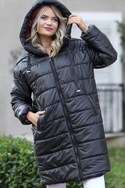 Kadın Siyah Kapüşonlu Uzun Şişme Mont M10210200KA99851
