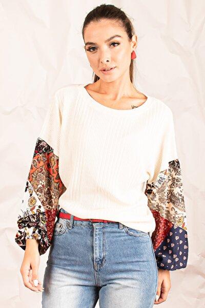 Kadın Ekru Kolu Desenli Büyük Beden Bluz ARM-21K001063