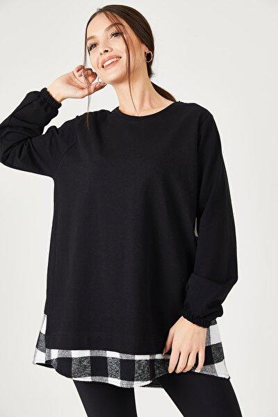 Kadın Siyah Sırtı Ekose Desen Sweatshirt ARM-21K024045