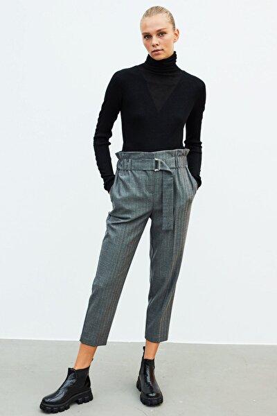 Kadın Gri Yüksek Bel Pantolon IW6200003181