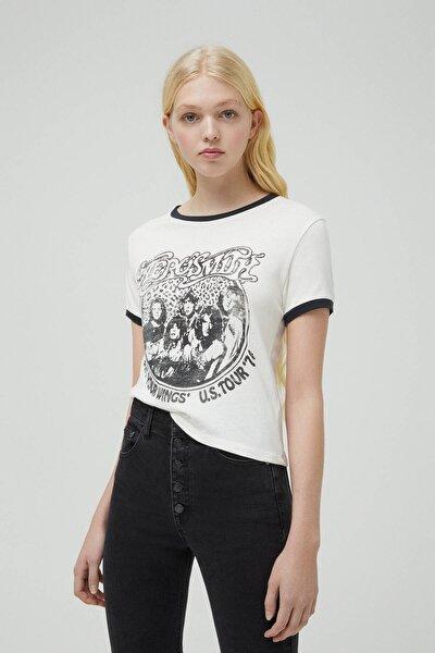 Kadın Buz Rengi Kontrast Kenarlı Aerosmith T-Shirt 09247310