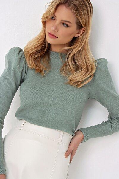 Kadın Çağla Yeşili Prenses Kol Yarım Balıkçı Şardonlu Crop Bluz ALC-X5042