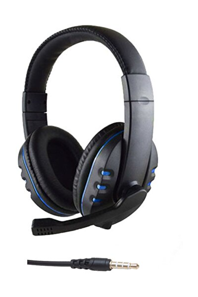 Gm002 Stereo Kulaküstü Mikrofonlu Oyuncu Kulaklık 3.5mm Tek Jack Mavi
