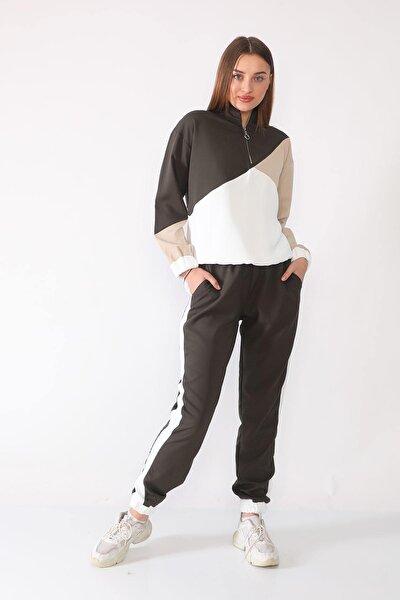 Kadın Koyu Yeşil Zara Model Eşofman Takımı Prk-8910