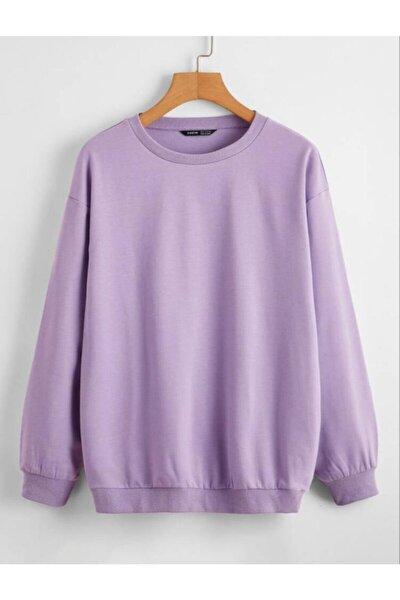 Unisex Lila Düz Basic Sweatshirt