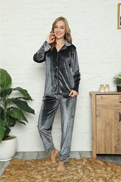Kadın Gri Kadife Şık Boydan Düğmeli Pijama Takım