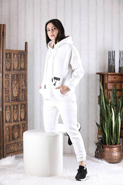 Kadın Beyaz Geniş Kalıp Bağcıklı Sweatshirt