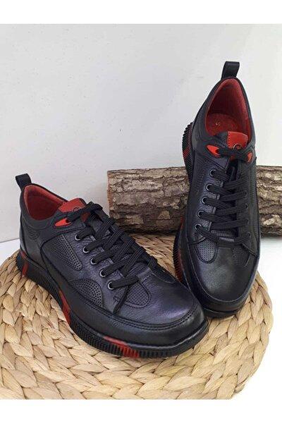 Erkek Siyah Hakiki Deri Günlük Spor Ayakkabı