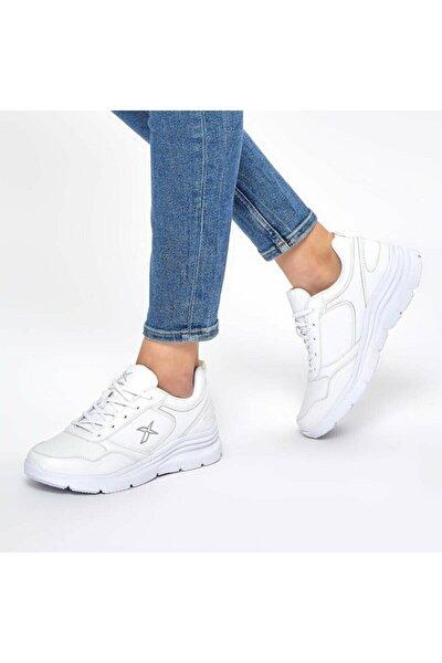 Kadın Beyaz Kalın Taban Sneaker Ayakkabı