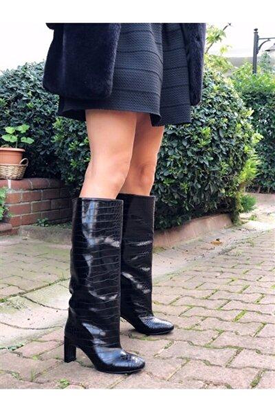 Kadın Siyah Extra Bol Kesimli Kroko Çizme