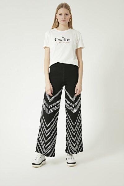 Kadın Siyah Çizgili Beli Lastikli Triko Pantolon
