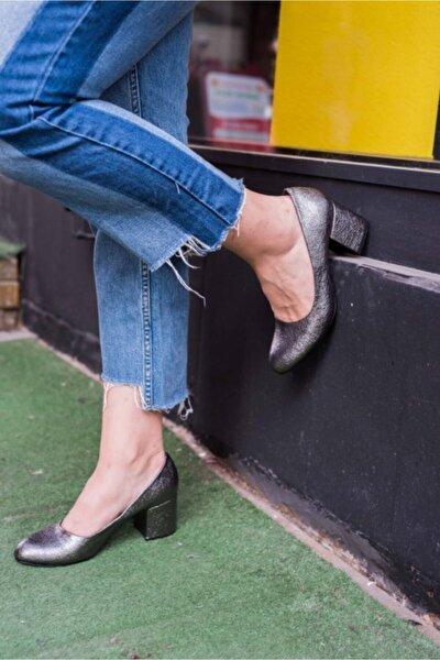 Kadın Altın Yuvarlak Burun Platin  Ayakkabı