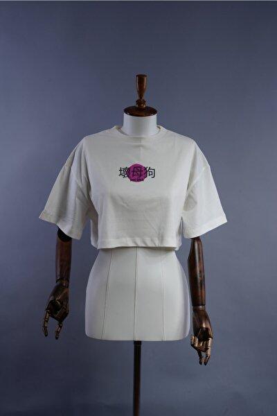 Kadın Beyaz Baskılı Pamuklu Bisiklet Yaka Oversize Crop Top T-shirt