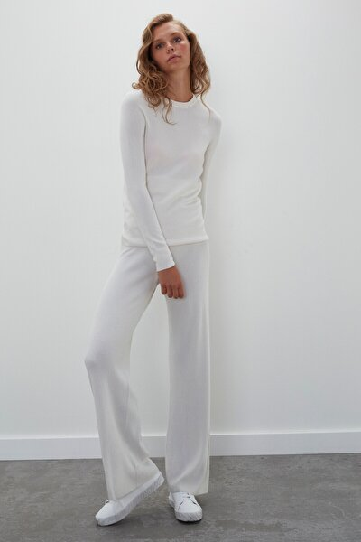 Kadın Ekru Dikişsiz Whole Garment Ribana Beli Lastikli Triko Pantolon