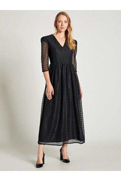 Kadın Siyah Beli Büzgülü Dantel Elbise