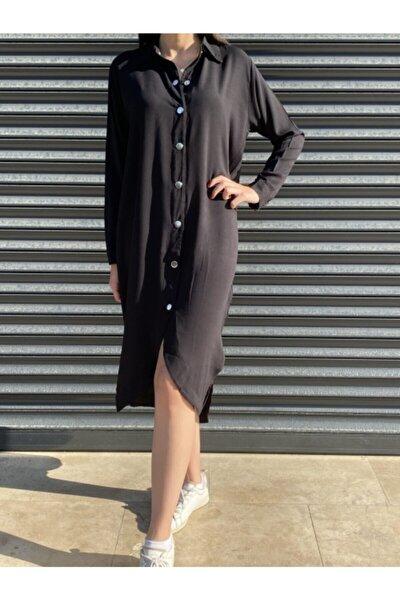 Kadın Siyah Asimetrik Kesim Dokuma Viscon Gömlek Elbise