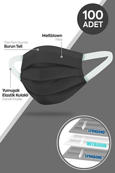 Yumuşak Elastik Kulaklı 3 Katlı Telli Siyah Cerrahi Maske