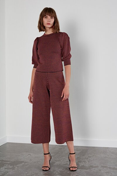 Kadın Kahverengi Desenli Beli Lastikli Triko Pantolon