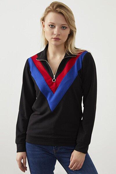 Kadın Siyah Yaka Fermuar Detay Sweatshirt