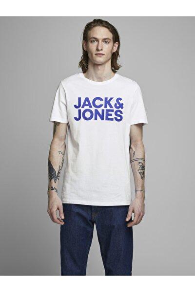 Erkek Beyaz Sıfır Yaka Pamuklu T-Shirt 12151955