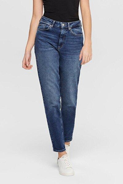 Unisex Mavi Geniş Paça Mom Jeans