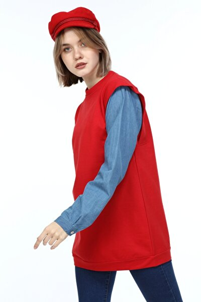 Kadın Kırmızı Kolu Kotlu Garnili Sweatshirt